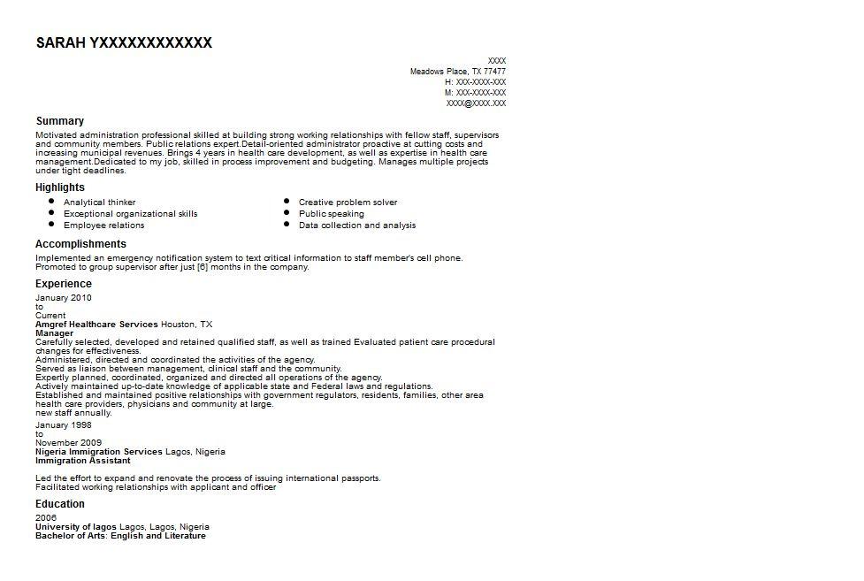 Healthcare Administrator Resume Sample   Quintessential LiveCareer