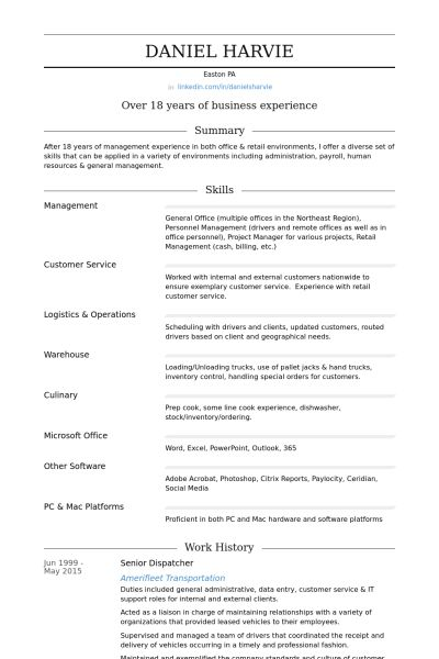 Dispatcher Resume Objective Professional 911 Templates