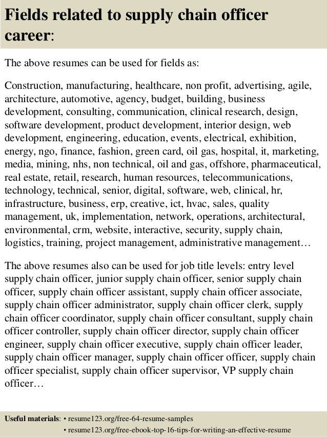 Top 8 supply chain officer resume samples