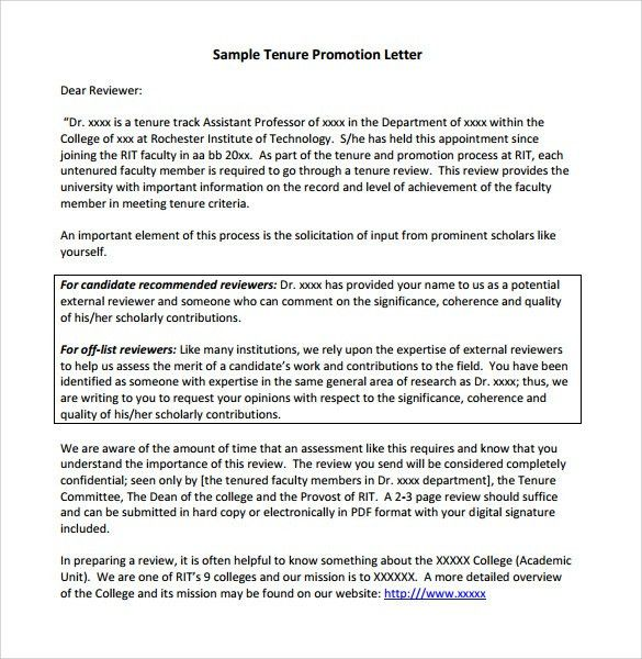 Example Letter Of Recommendation For Faculty Tenure - Resume ...