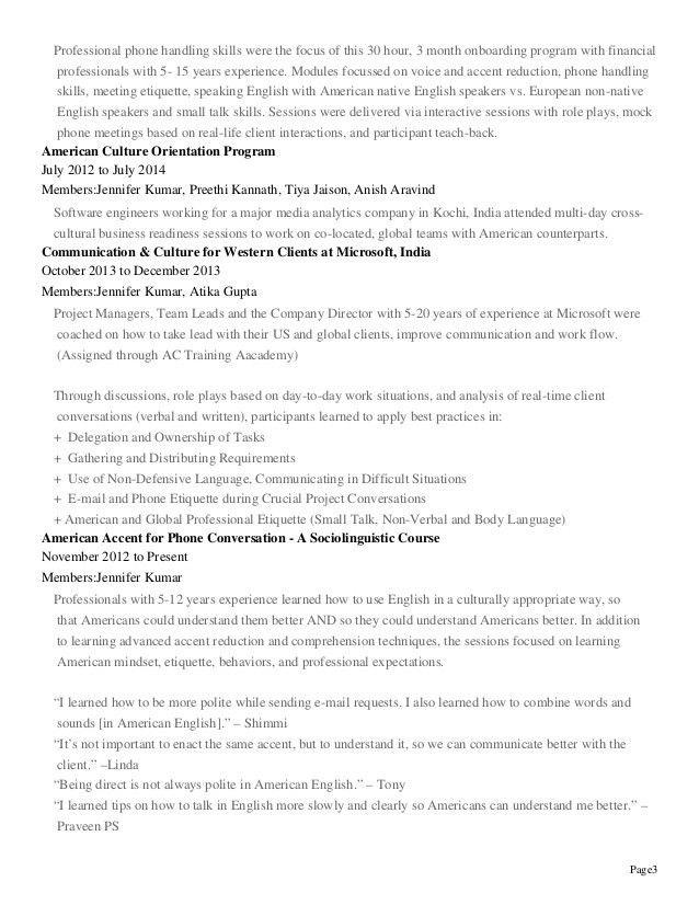 Jennifer Kumar - Resume, Professional Experience