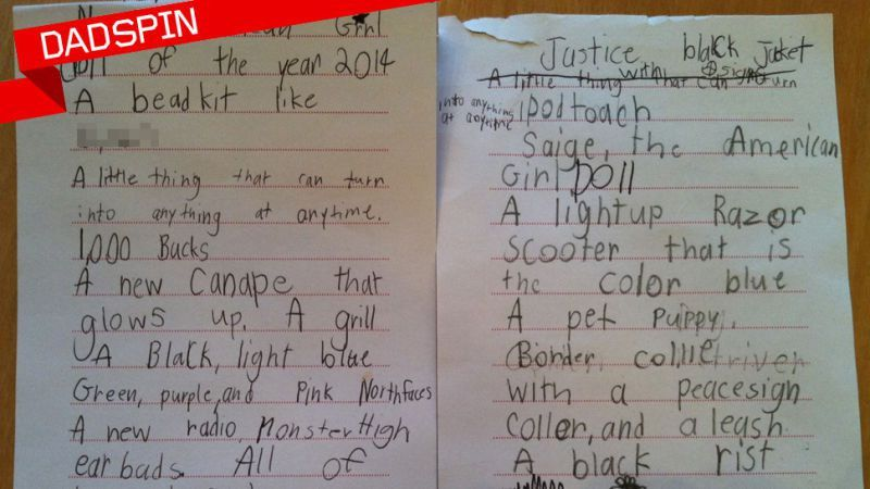 My Kid's Insane Christmas Wish List, Annotated
