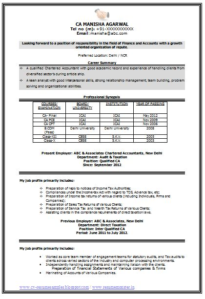 Sample Template of an Experienced Chartered Accountant Resume ...