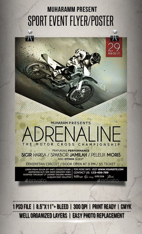 Sport Motocross Adrenaline Event Flyer / Poster Design Template ...