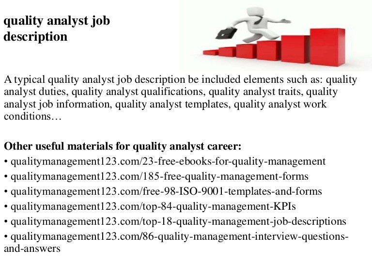 Analyst Job Description. Quality Analyst Job Description Quality ...