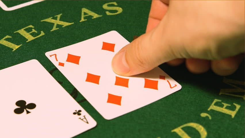 Poker Game - Dealer Hands Out Cards On A Green Table Stock Footage ...