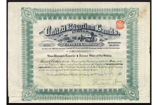 United Egyptian Lands Ltd., a good group of bearer certificates ...