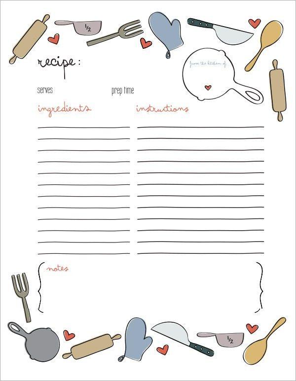 recipe book template microsoft word
