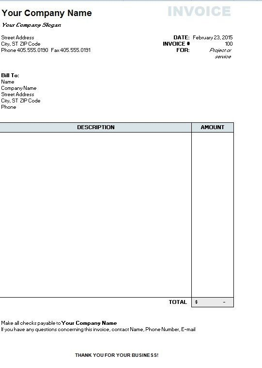 Excel Invoice Template - Printable Word, Excel Invoice Templates ...