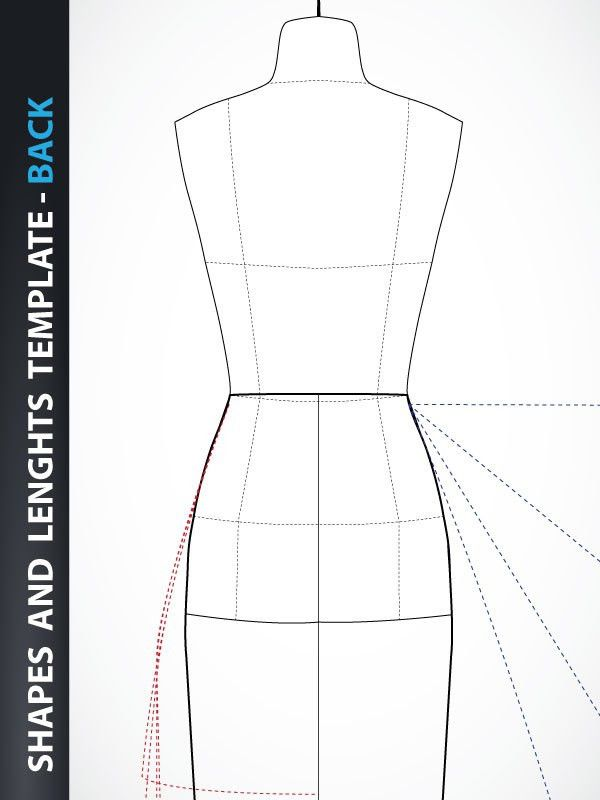 Fashion Design – Skirt and Dress Drawing Template – Back | Lady ...