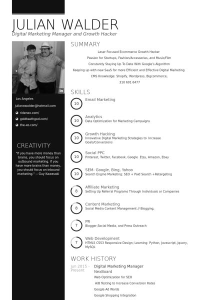 Digital Marketing Manager Resume samples - VisualCV resume samples ...
