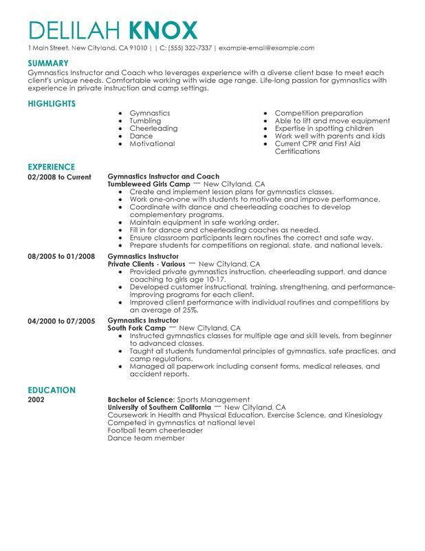 Unforgettable Gymnastics Instructor Resume Examples to Stand Out ...