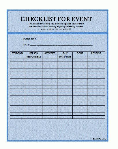 Checklist Template | Formsword: Word Templates & Sample Forms
