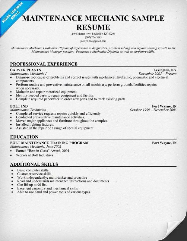Interesting Maintenance Mechanic Resume 12 Auto Mechanic Resume ...