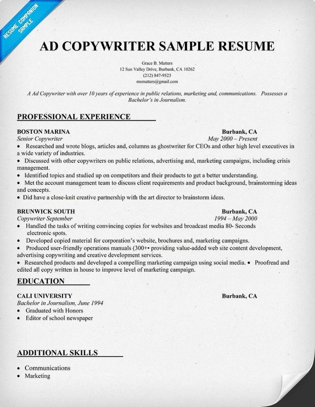 13 Best Photos of Sample Copywriter Resume Template - Copy of ...