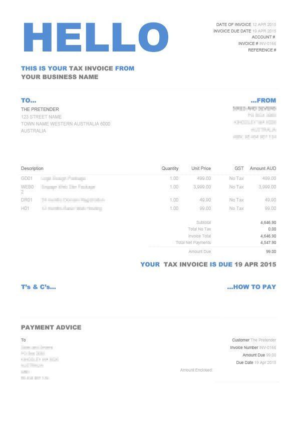 Xero Invoice Template | invoice example