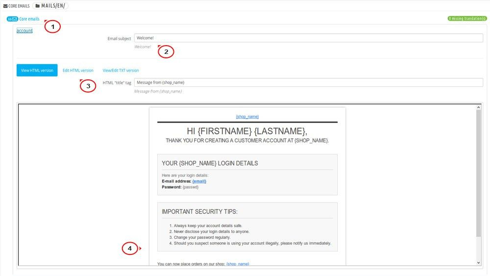 PrestaShop 1.6.x. How to edit order confirmation and registration ...