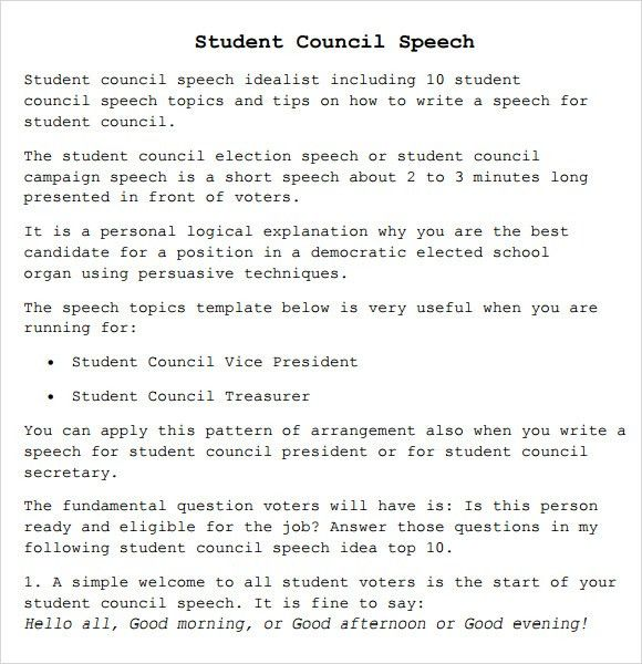 Sample Student Council Speech - 7+ Documents in PDF