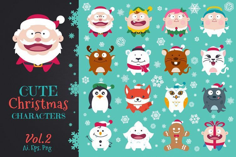 Cute Flat Christmas Characters Vol.2 by | Design Bundles
