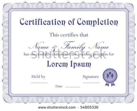 Vector Certificate Completion Template A Jpg Stock Vector 54805336 ...