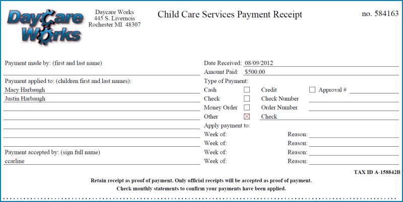 View Payment Receipt