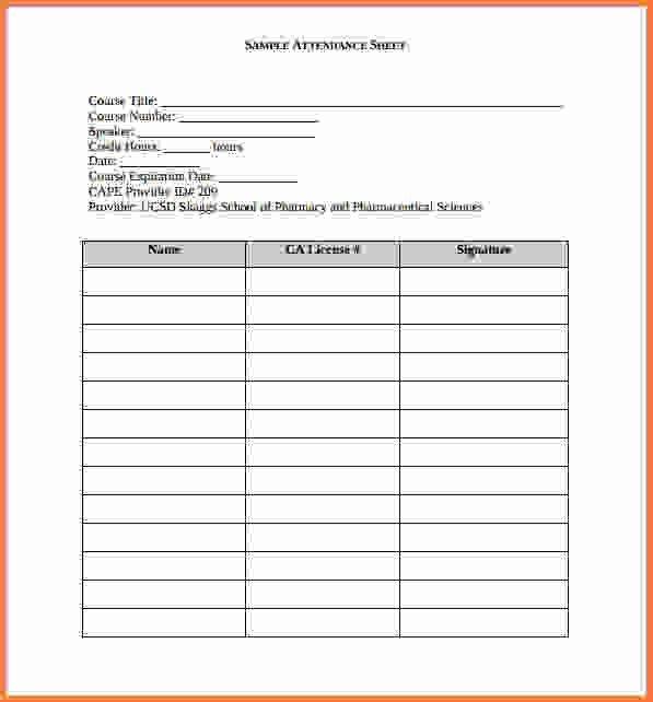 attendance record template