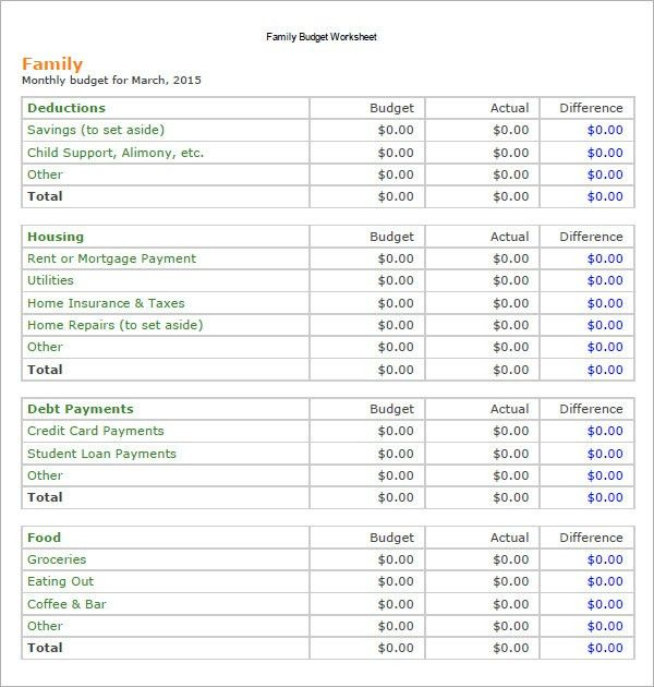 excel family budget templates