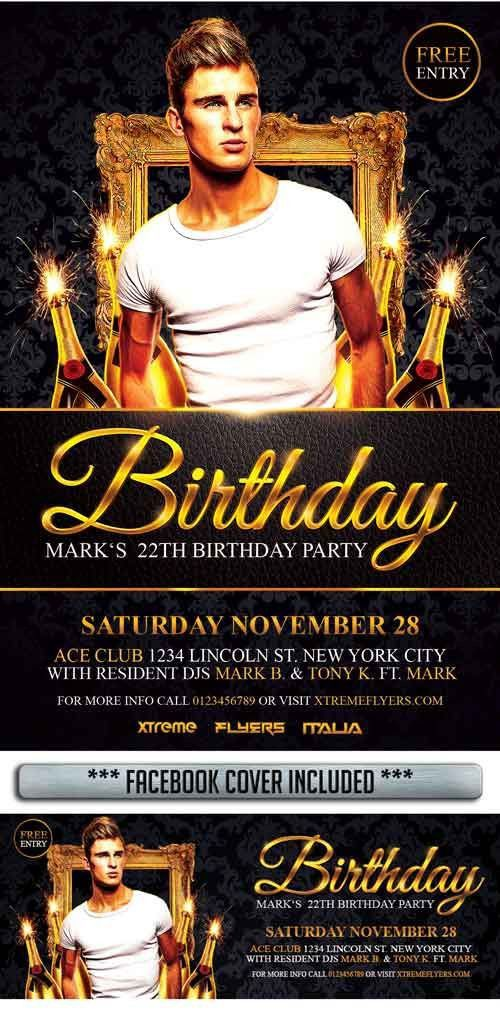 Birthday Gold Night Free PSD Flyer Template - http://freepsdflyer ...