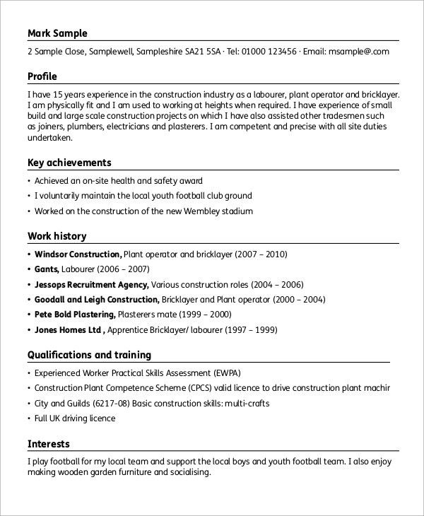 Sample Construction Resume - 9+ Examples in Word, PDF