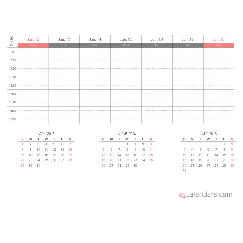 Weekly appointment calendar template, PDF format - EzCalendars