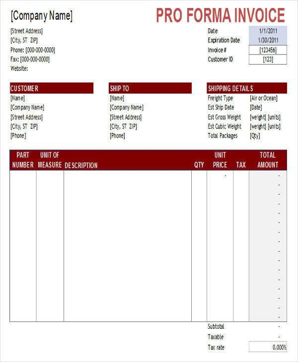 Sample Proforma Invoice - 6+ Examples in Excel, PDF, Word