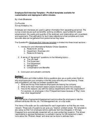 Exit Survey Template. sample exit interview form 10 examples in ...