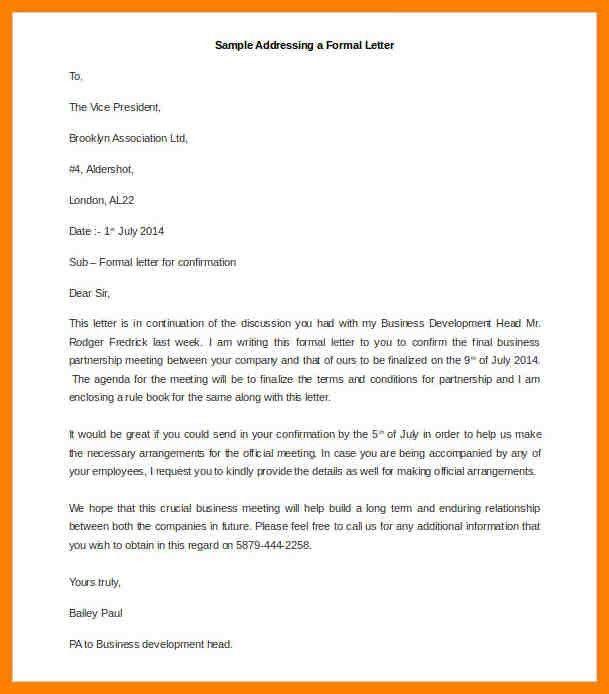 7+ formal emails format   addressing letter