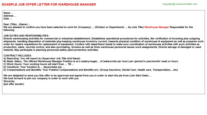 Warehouse Manager Offer Letters
