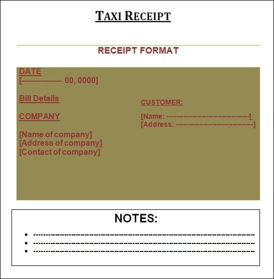 7+ Taxi receipt Templates - Word Excel PDF Formats