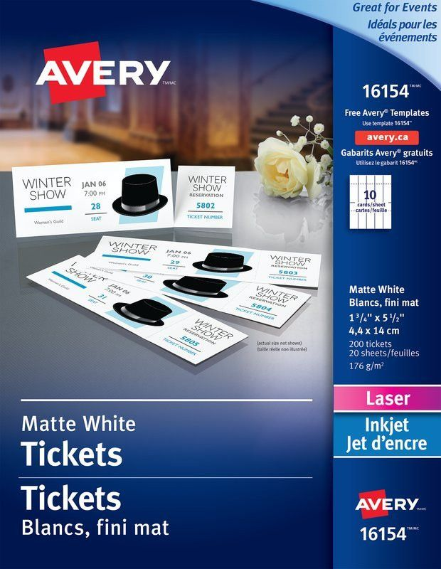 """Avery® 16154 - Tickets with Tear Away Cards, 1-3/4"""" x 5-1/2"""", White"""