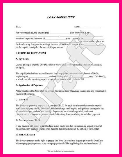 Sample Loan Contract 5 Loan Agreement Templates To Write Perfect – Car Loan Contract Template