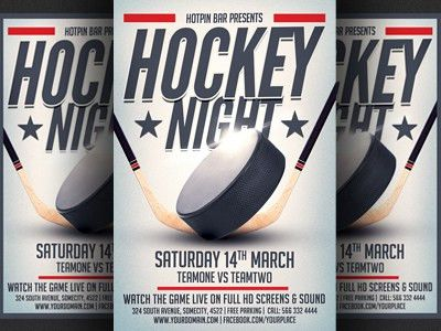 Hockey Match Flyer Template by Christos Andronicou - Dribbble