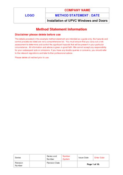 Double Glazing Method Statement Example to Download