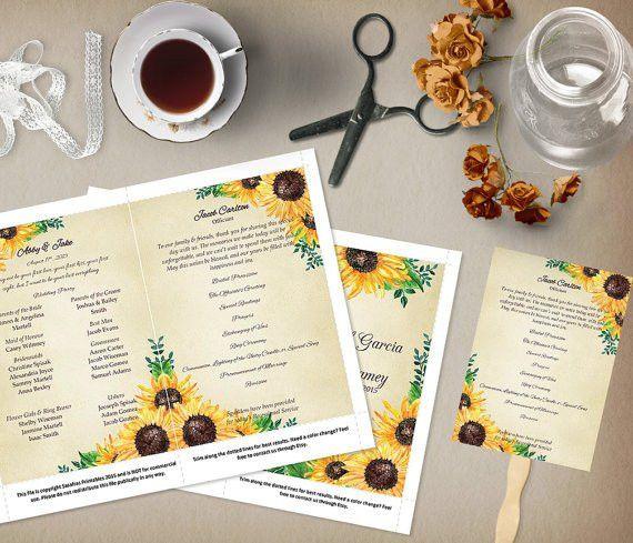 Rustic Sunflower Wedding Program Template Order of Service