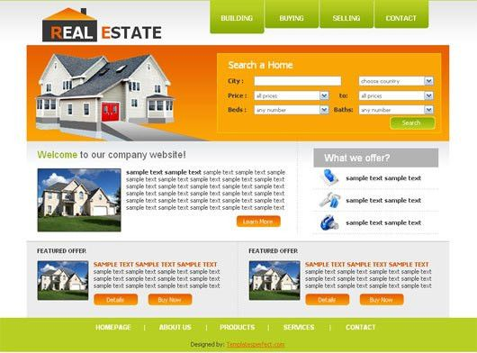 Another free real estate web template | Templates Perfect