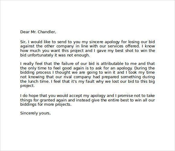 Formal Apology Letter To Boss For Losing Bid : Vatansun