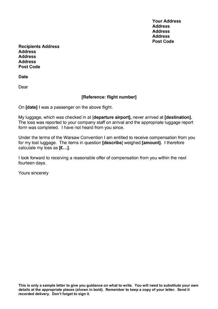 Sample Complaint Letter Airline - Mediafoxstudio.com