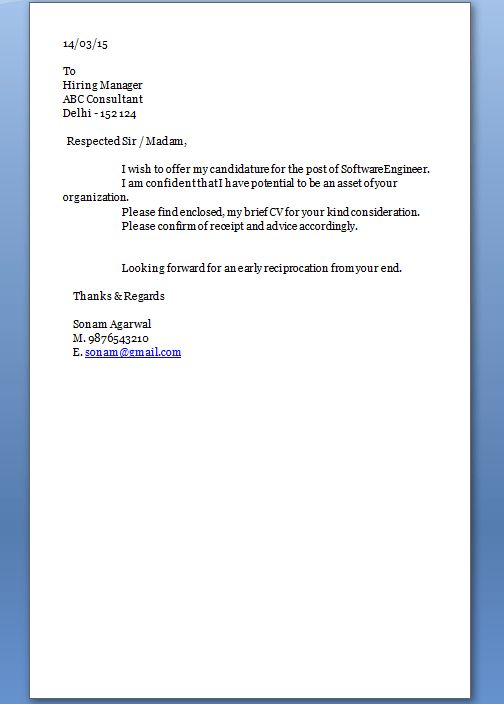 Example of Excellent Professional Job Application Cover Letter in ...