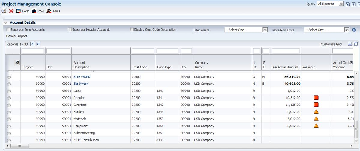 Viewing Job and Billing Data