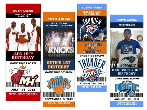 Personalized Birthday Party BASKETBALL TICKET Invitation   one day ...