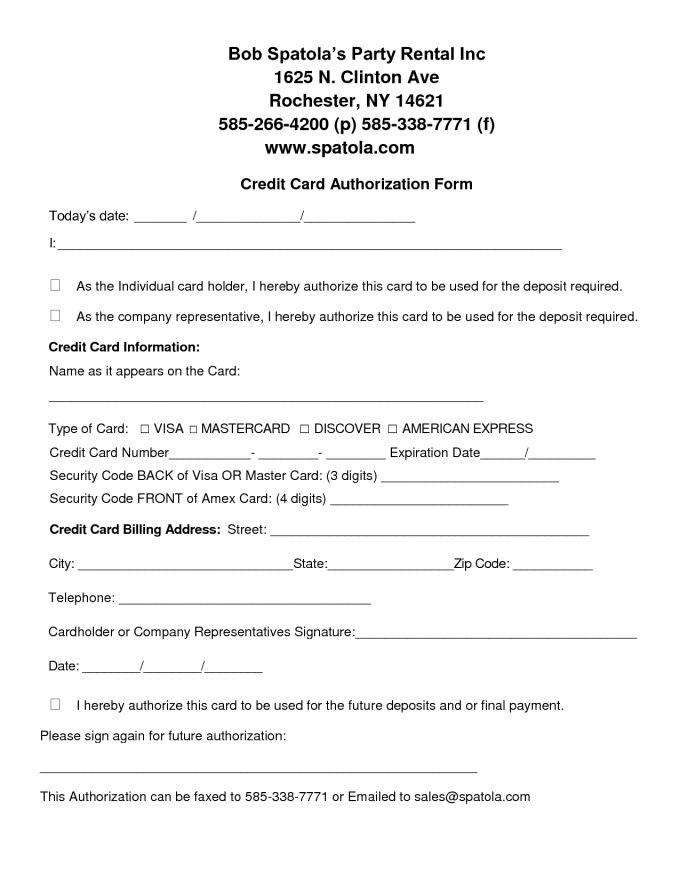 Authority Form Template. authority form template credit card ...