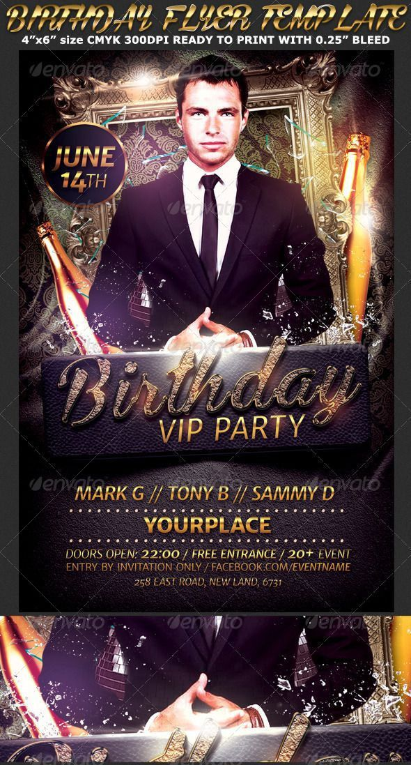 Birthday/Bachelor Party Flyer Template | Party flyer, Flyer ...