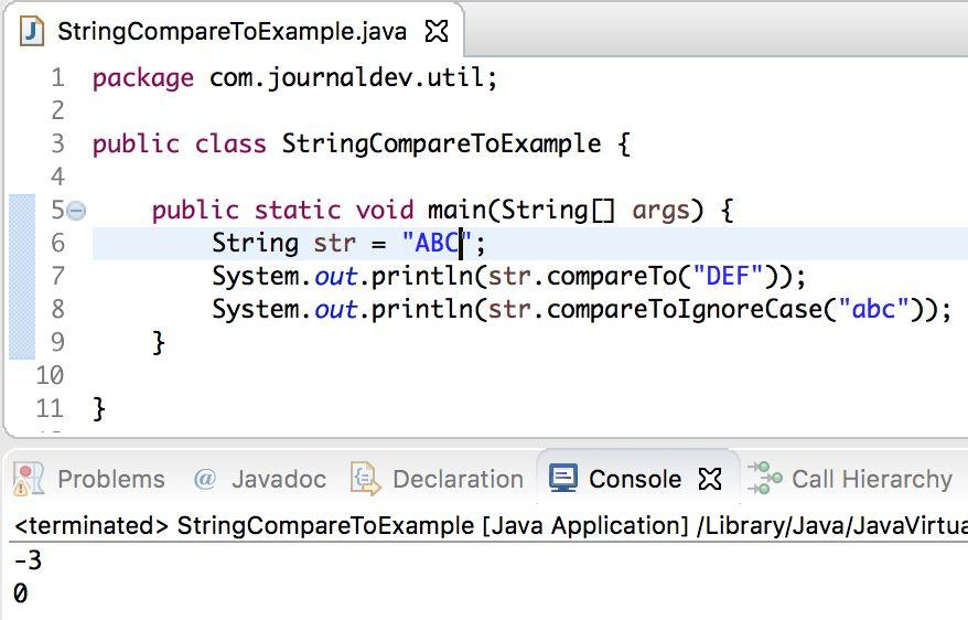 Java String compareTo() Example - JournalDev