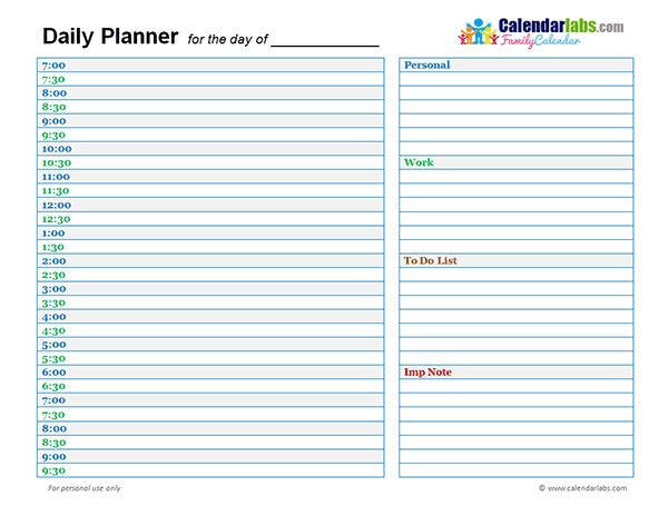 Family Day Planner 02 - Free Printable Templates